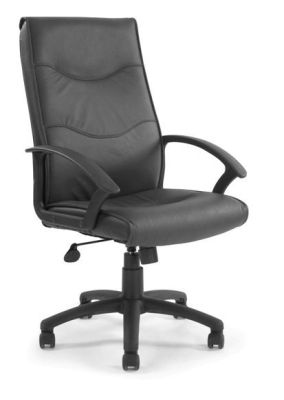 Vista Black Leather Office Chair On Swivel Base