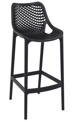 Percy Black Plastic High Stool