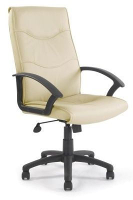 Vista Cream Leather Executive Swivel Chair With Sculptured Back