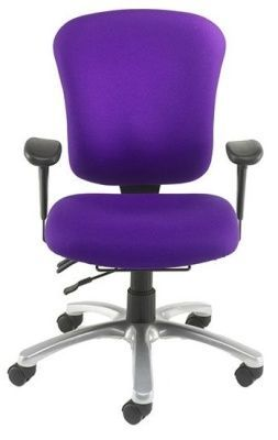 TRX Heavy Duty Office Chair With Soft Adjustable Arms And Silver Base In Purple