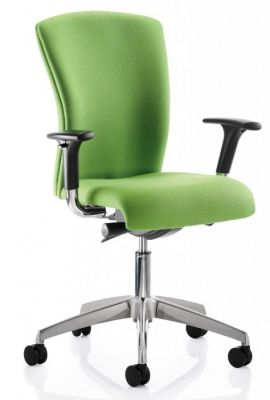 Poise Fully Upholstered Green Swivel Chair With Sculptured Shaped Back And Moulded Seat