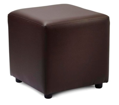 Zapster Brown Faux Leather Cube Stool