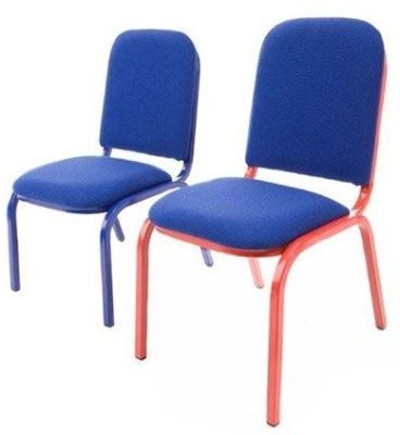 Junior Side Chair With Red And Blue Frame With Blue Fabric