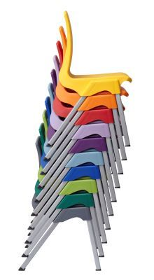 Stylus Poly Education Chair In Multiple Colours From A Side View
