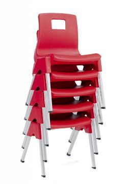 Stylus Poly Education Chair Stack In Red