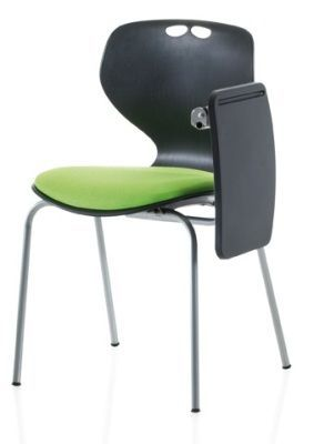 Matal Chair With Writing Tablet In Black With Green Seat Pad
