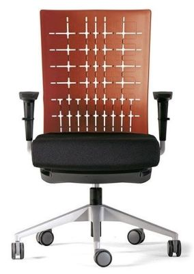 Designer Modern Office Chair With Orange Back And Black Fabric Seat On Castors
