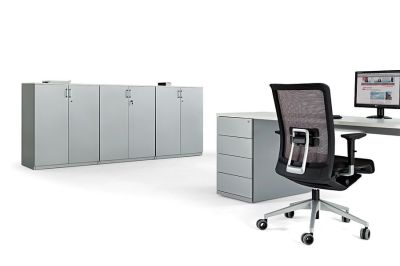 Three Grey Two Door Office Cupboards, Four Drawer Grey Pedestal, Grey Computer Desk And Designer Manager Chair