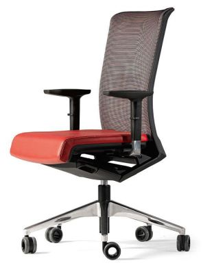 Designer Computer Chair With Black Mesh Back, Red Seat And Chrome Base With Auto-braking Castors