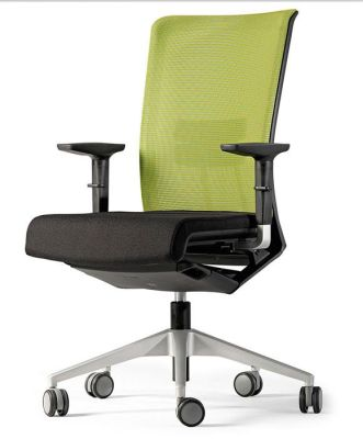 Designer Conference Swivel Chair With Auto-braking Castors In Contemporary Green Mesh Back And Black Seat