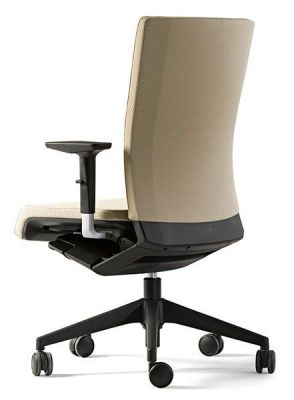 Designer Winner Operator Swivel Chair In Beige With Arm Rests And Black Base