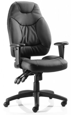 Galaxy Luxury Executive Chair With Deep Foam Cushions In Black Bonded Leather