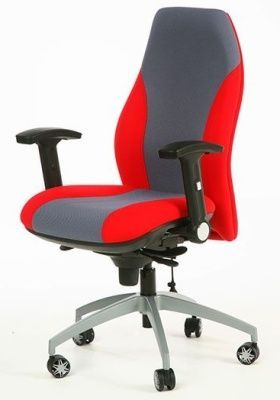 GT Modern Managers Seat With Red And Grey Upholstery, Large Contoured Back With Lumbar Support
