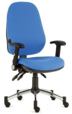 Eric Management Task Chair In Blue Fabric With T Arm Rests