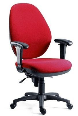 Byron Lux Multifunctional Swivel Chair With Large Back Upholstered In Red With Arms