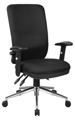 Stato Chiropractic Approved Office Chair With High Contoured Back In Black Fabric