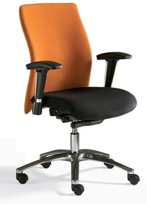 Flame High Back Contemporary Swivel Chair With Contrasting Orange And Black Upholstery