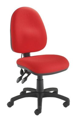 Devonian Medium Back Ergonomic Red Chair On Castors