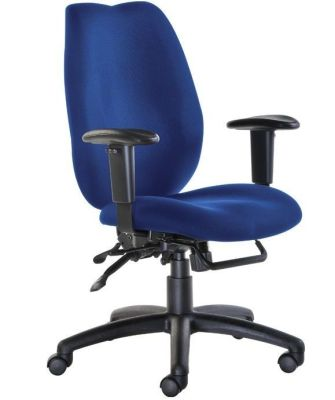Truro Ergonomic Operator Chair With Arm Support In Blue Fabric