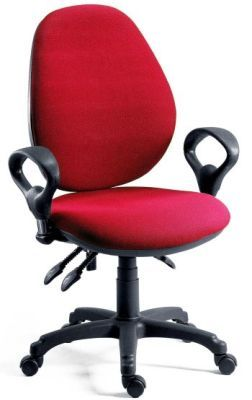 Byron Operator Chair In Red With Loop Adjustable Arms And Height Adjustable Back