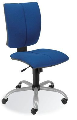 Cinque Computer Desk Chair In Blue Fabric And Square Adjustable Back