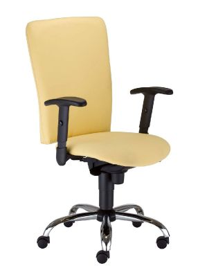 Bolero Office Chair In Cream With Widespread Seat And Large Back, Chrome Swivel Base