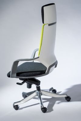 Carbon High Back Designer Chair White Polymer Back