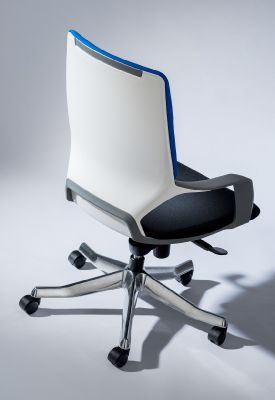 Carbon Mid Back Designer Chairs Showing White Polymer Back