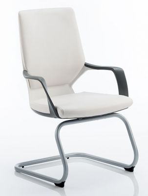 Carbon Visitors Chair White Leather