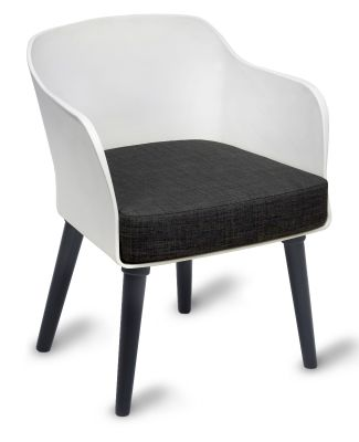 Polly Tub Chair White Shell Black Legs