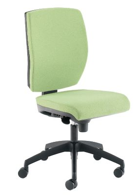 Quatro Task Chair Without Arms In Pale Green Fabric And Black Base