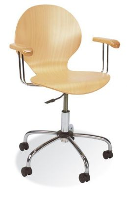 Piazza Beech Coloured Plywood Swivel Chair With Chrome Frame And Matching Armrests