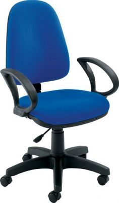 Swift Blue Upholstered Office Chair With Shark Fin Armrests And High Back