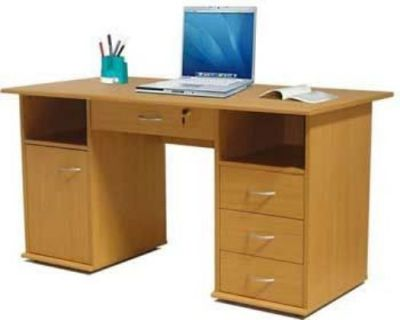 Merrywood Twin Pedestal Computer Desk With Three Drawers, Cupboard And Large Central Drawer In Beech
