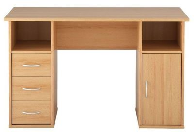 Maryland Home Computer Desk With Three Drawers And Extra Storage In Beech Finish With Silver Colour Handles