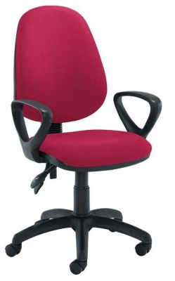Star Multi Task Operator Chair In Dark Red Fabric With Loop Arms Attached