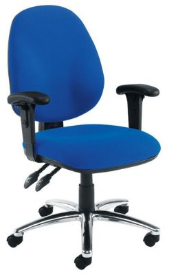 Bravo Blue Task Chair With Chrome Star Base And T Armrests
