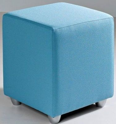 Mojo Pale Blue Square Multipurpose Stool With Silver Feet