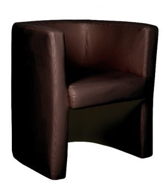 Bk Brown Leather Tub Chair