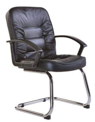 Black Leather Visitors Conference Chair