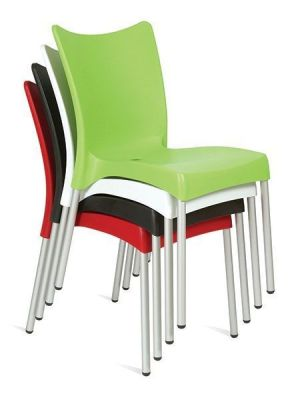 Stacking Multipurpose Plastic Chair Aluminium Legs