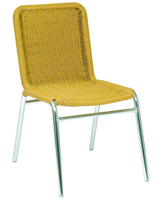 Calina Aluminium Side Chair Beige Weave