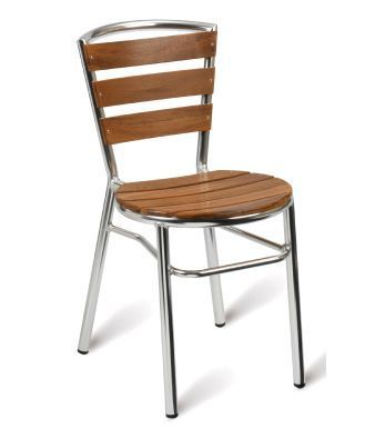 Verona Aluminium And Teak Outdoor Side Chair