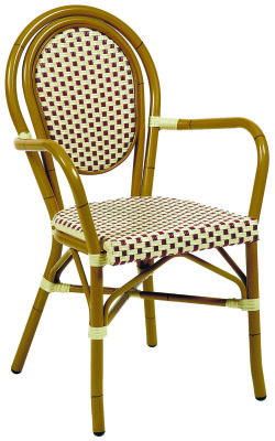 Limoges Contiental Weave Arm Chair With Red And Cream Weave