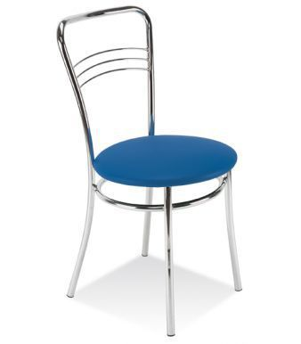 Argento Bistro Chair With A Blue Vinyl Seat