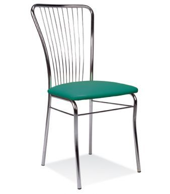 Neron Bistro Chair With A Green Vinyl Seat