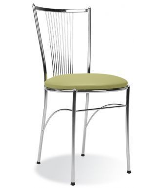 Fosca Bistro Chair With A Green Vinyl Seat