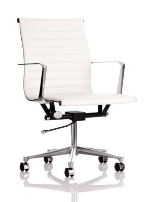 Status White Leather Designer Executive Chair