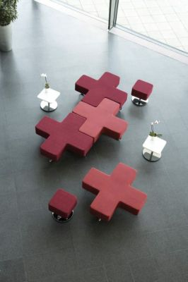 Jaks Criss Cross Puplic Area Seating In Dark And Light Red