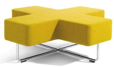 Jaks Cross Shaped Yellow Modular Seating With Chrome Base